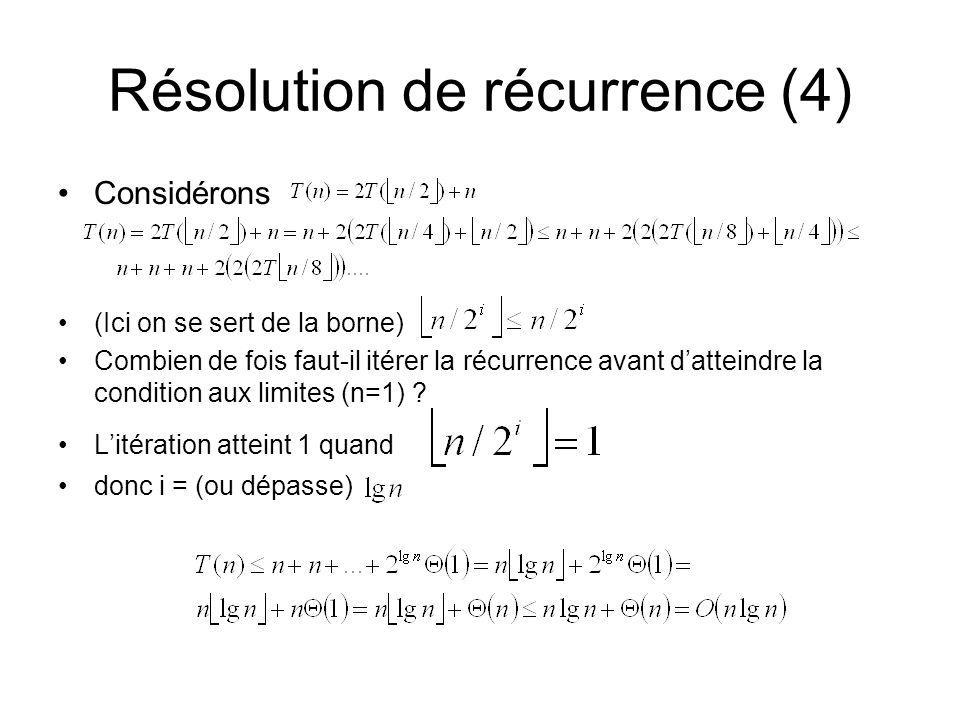 Résolution de récurrence (4)