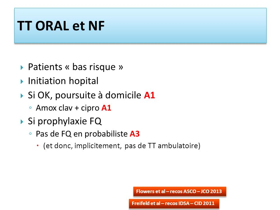 TT ORAL et NF Patients « bas risque » Initiation hopital