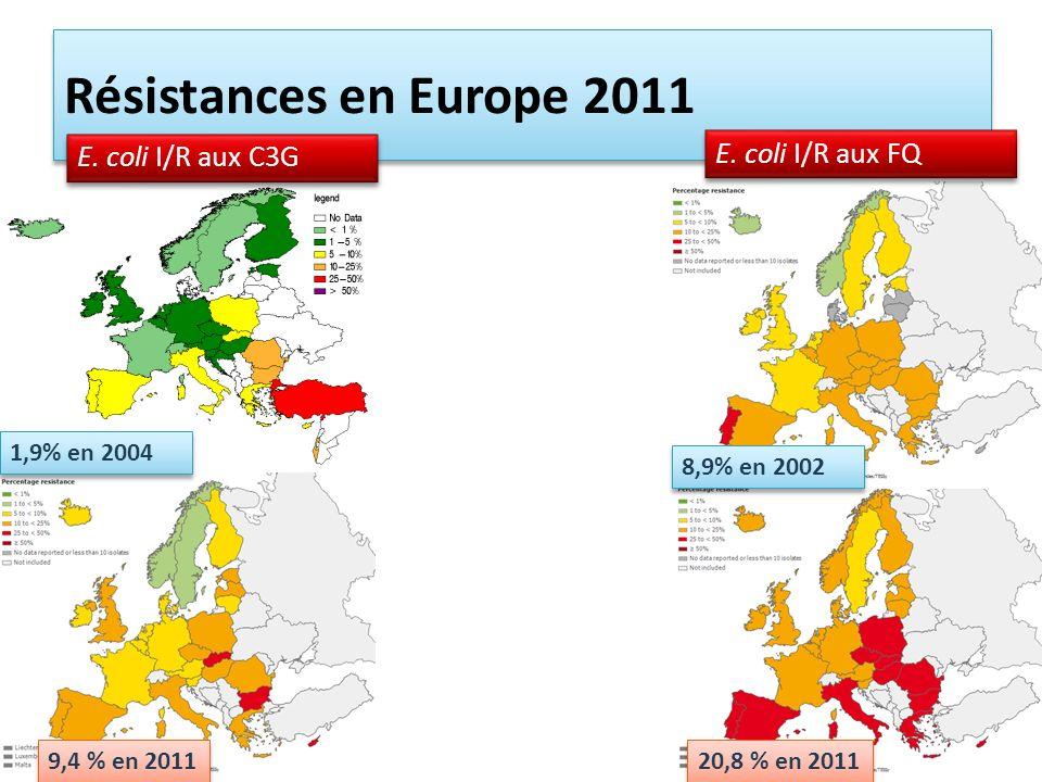 Résistances en Europe 2011 E. coli I/R aux FQ E. coli I/R aux C3G