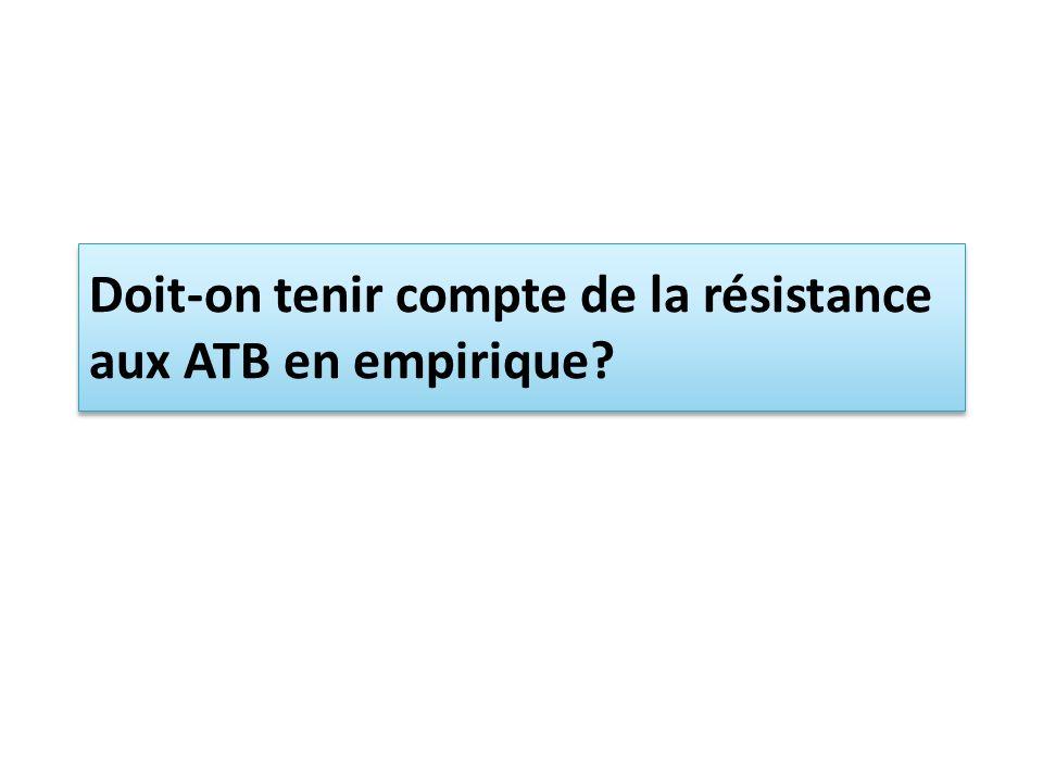 Doit-on tenir compte de la résistance aux ATB en empirique