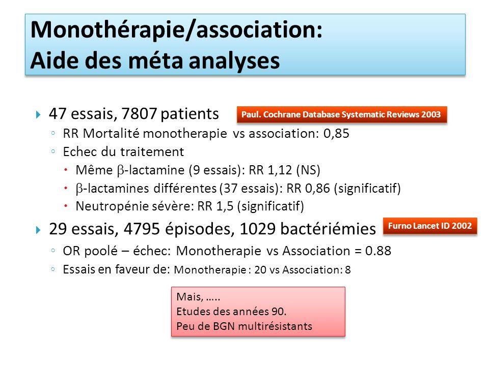 Monothérapie/association: Aide des méta analyses