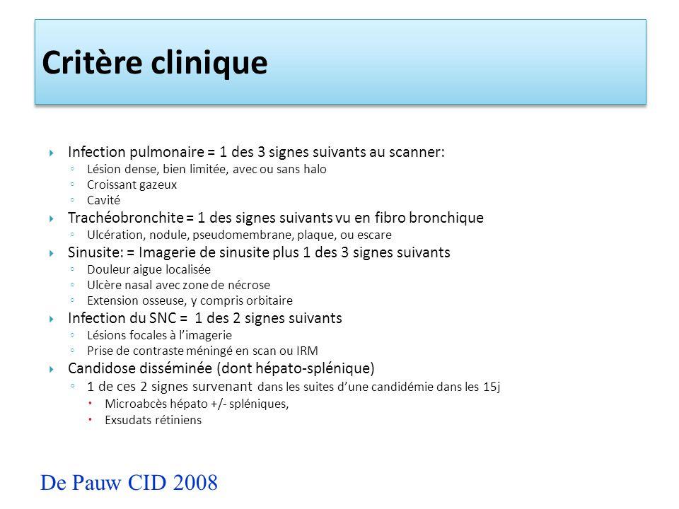 Critère clinique De Pauw CID 2008
