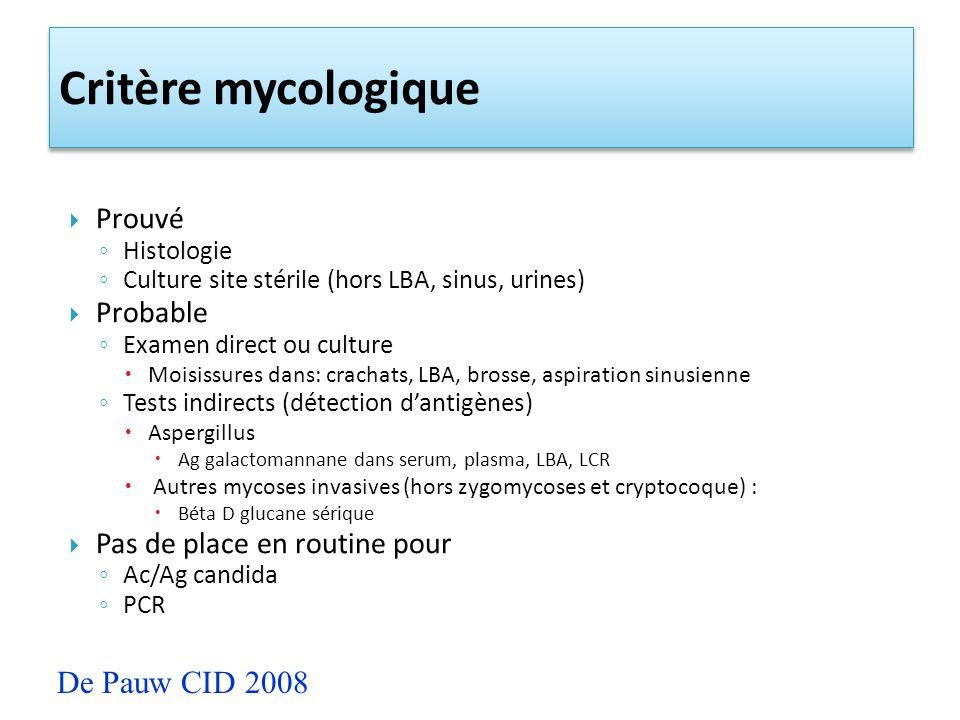 Critère mycologique De Pauw CID 2008 Prouvé Probable