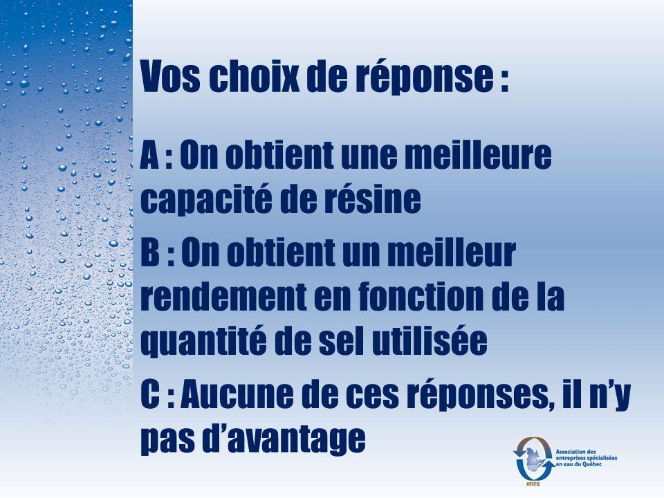 Vos choix de réponse : A : On obtient une meilleure capacité de résine