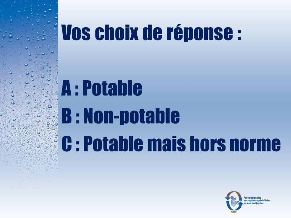 Vos choix de réponse : A : Potable B : Non-potable