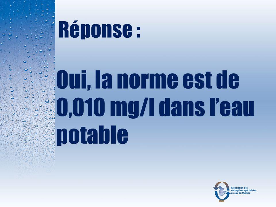 Oui, la norme est de 0,010 mg/l dans l'eau potable