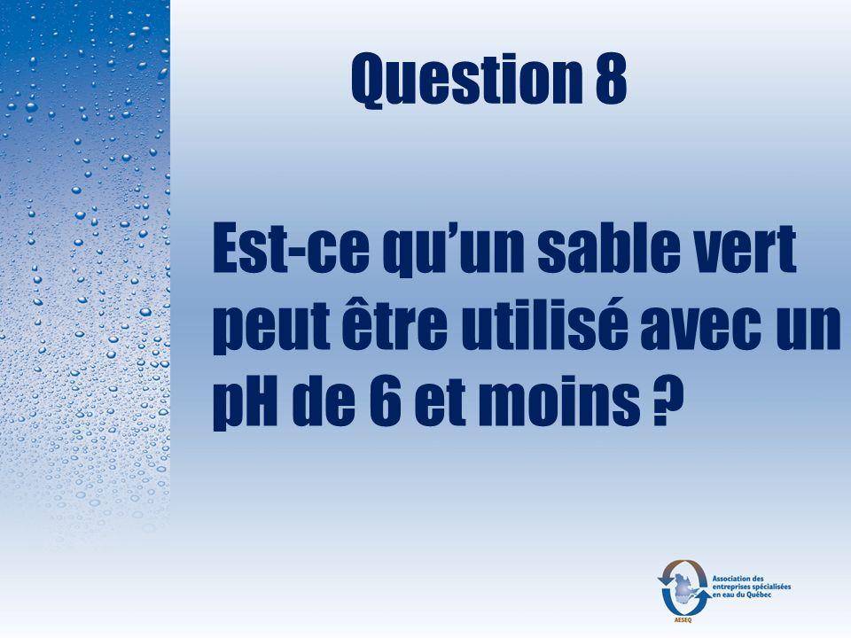 Question 8 Est-ce qu'un sable vert peut être utilisé avec un pH de 6 et moins