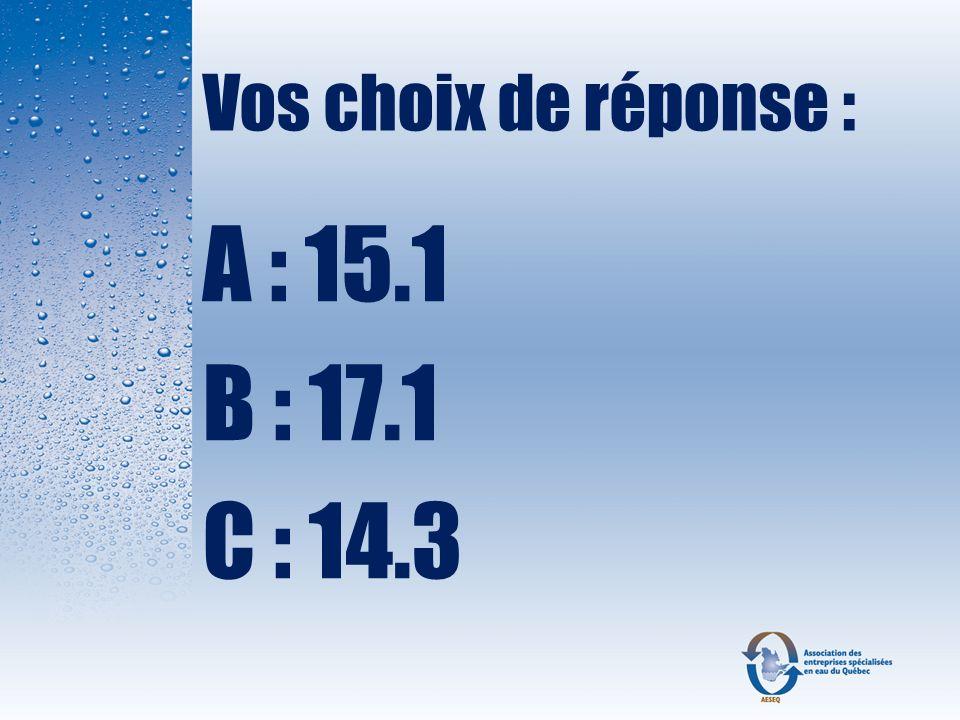 Vos choix de réponse : A : 15.1 B : 17.1 C : 14.3