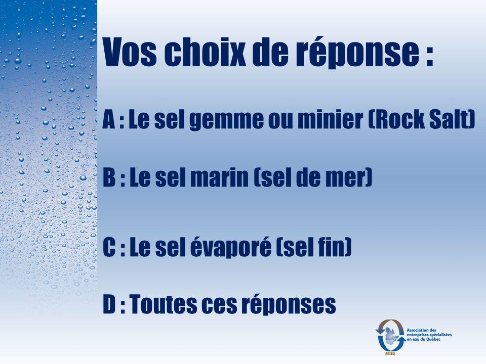 Vos choix de réponse : A : Le sel gemme ou minier (Rock Salt) B : Le sel marin (sel de mer) C : Le sel évaporé (sel fin) D : Toutes ces réponses.