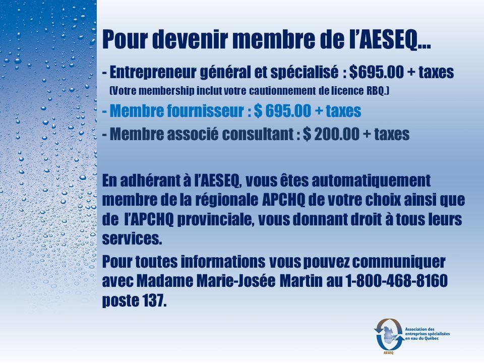 Pour devenir membre de l'AESEQ…