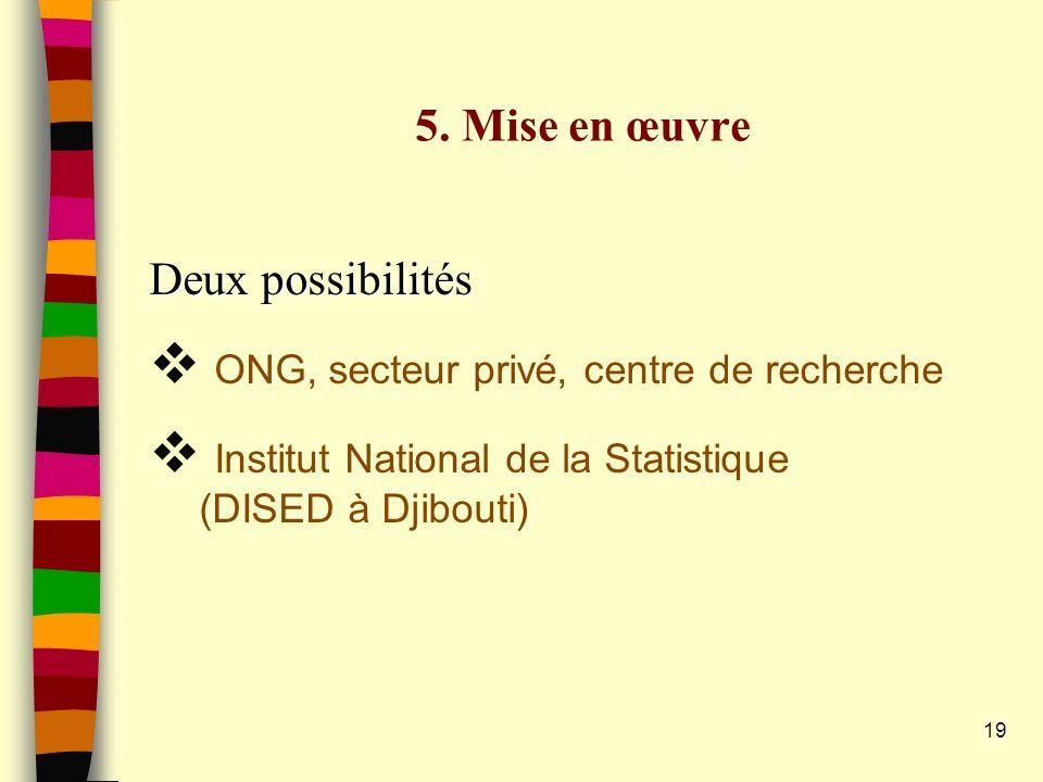 5. Mise en œuvre Deux possibilités. ONG, secteur privé, centre de recherche.
