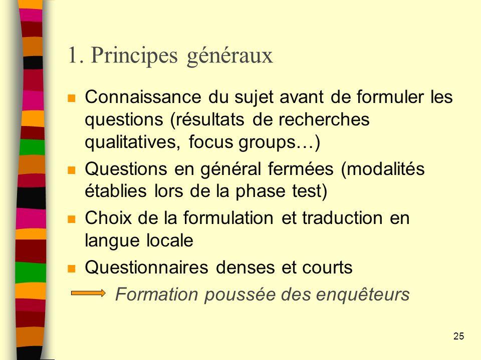 1. Principes généraux Connaissance du sujet avant de formuler les questions (résultats de recherches qualitatives, focus groups…)