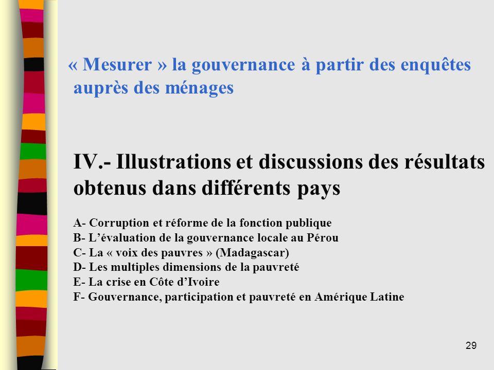 « Mesurer » la gouvernance à partir des enquêtes auprès des ménages IV