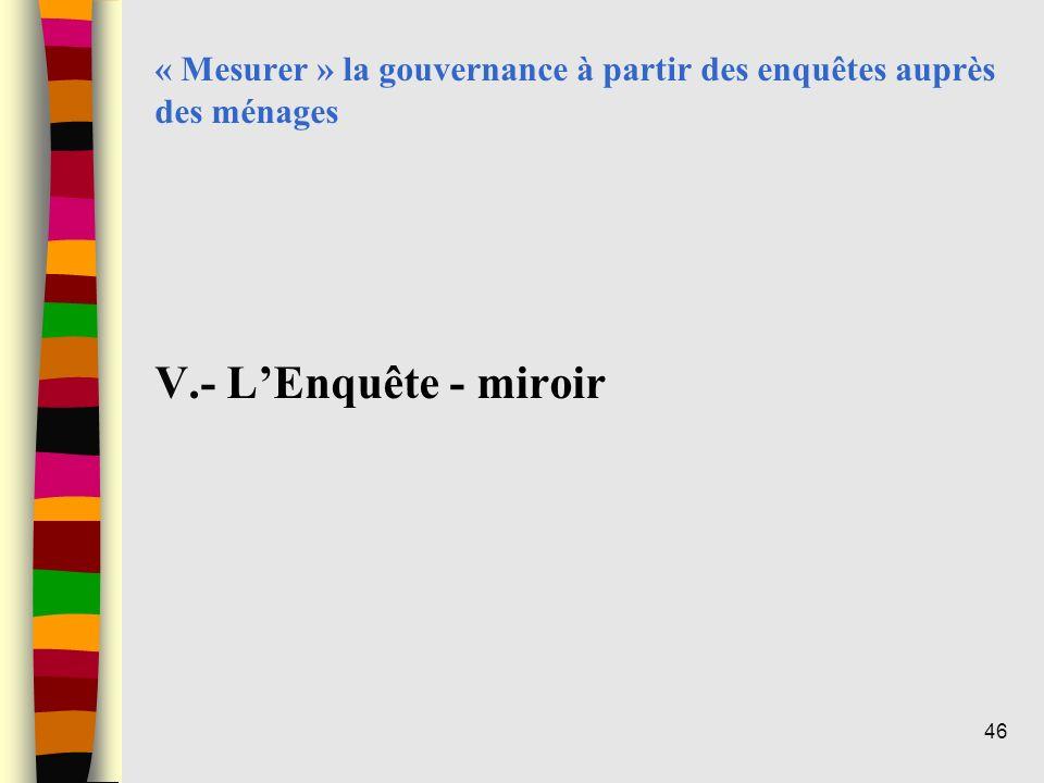 « Mesurer » la gouvernance à partir des enquêtes auprès des ménages V