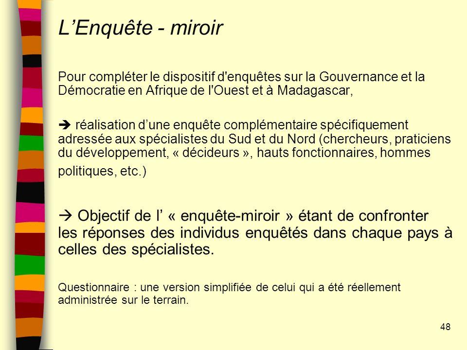 L'Enquête - miroir Pour compléter le dispositif d enquêtes sur la Gouvernance et la Démocratie en Afrique de l Ouest et à Madagascar,