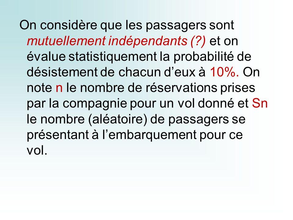 On considère que les passagers sont mutuellement indépendants (