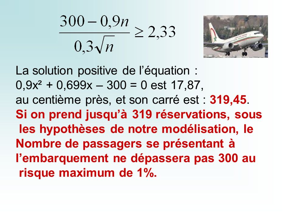 La solution positive de l'équation :