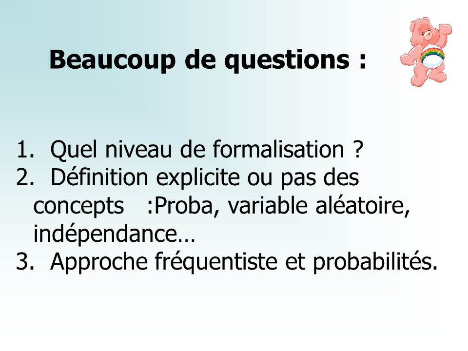 Beaucoup de questions :