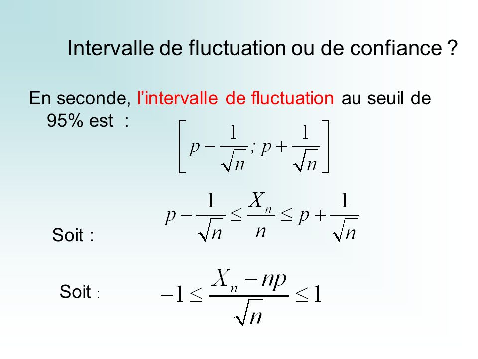 Intervalle de fluctuation ou de confiance