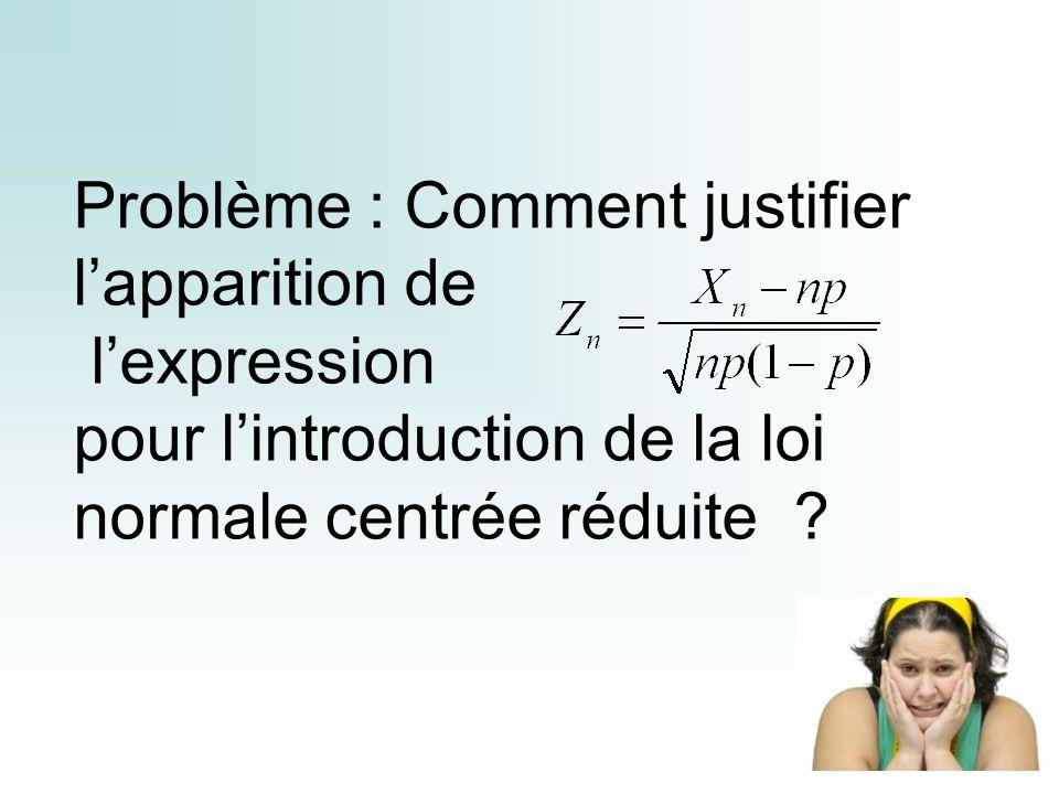 Problème : Comment justifier l'apparition de l'expression pour l'introduction de la loi normale centrée réduite