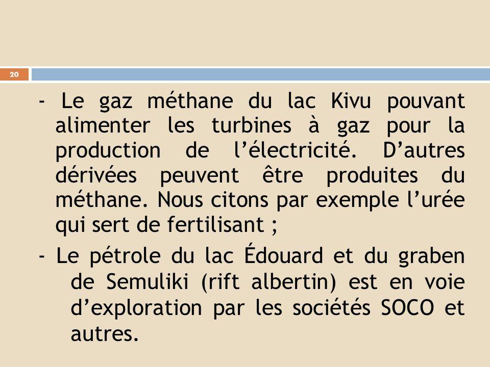 - Le gaz méthane du lac Kivu pouvant alimenter les turbines à gaz pour la production de l'électricité. D'autres dérivées peuvent être produites du méthane. Nous citons par exemple l'urée qui sert de fertilisant ;