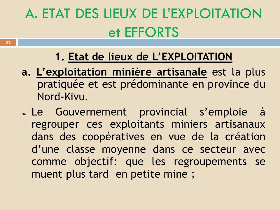 A. ETAT DES LIEUX DE L'EXPLOITATION et EFFORTS