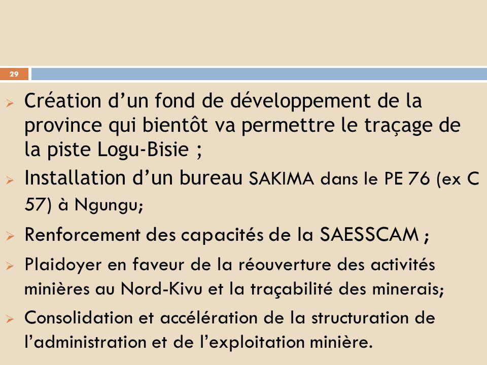 Renforcement des capacités de la SAESSCAM ;