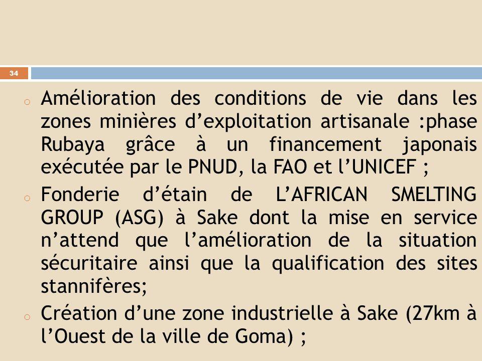 Amélioration des conditions de vie dans les zones minières d'exploitation artisanale :phase Rubaya grâce à un financement japonais exécutée par le PNUD, la FAO et l'UNICEF ;