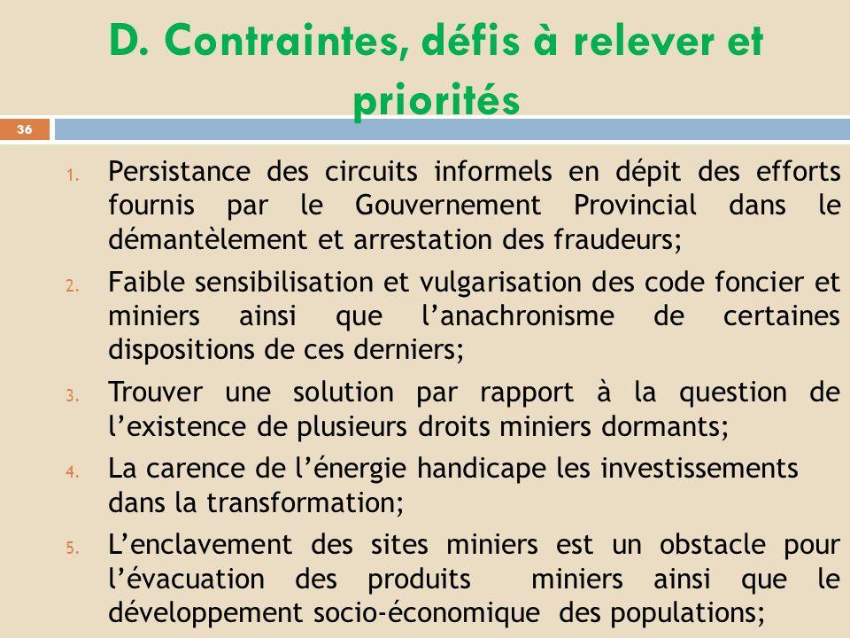 D. Contraintes, défis à relever et priorités