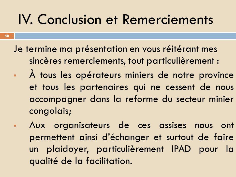 IV. Conclusion et Remerciements