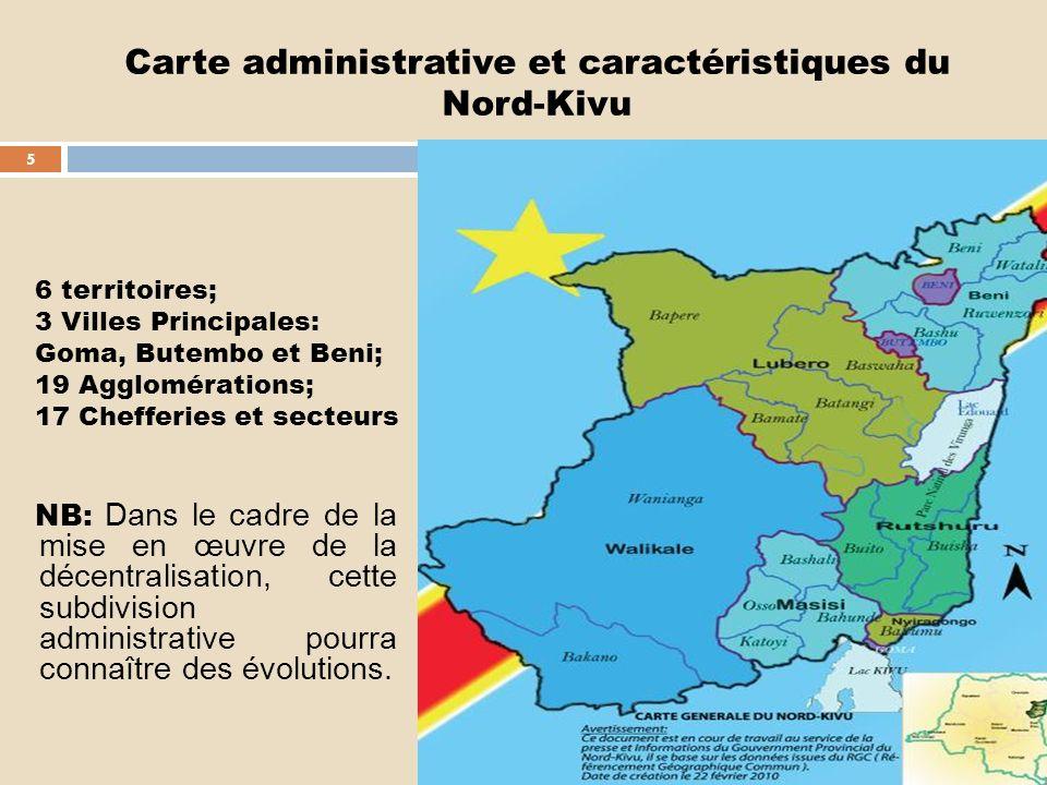 Carte administrative et caractéristiques du Nord-Kivu