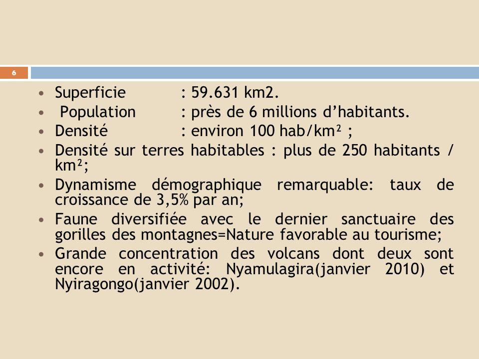 Superficie : 59.631 km2. Population : près de 6 millions d'habitants. Densité : environ 100 hab/km² ;