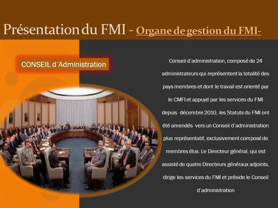 Présentation du FMI - Organe de gestion du FMI-