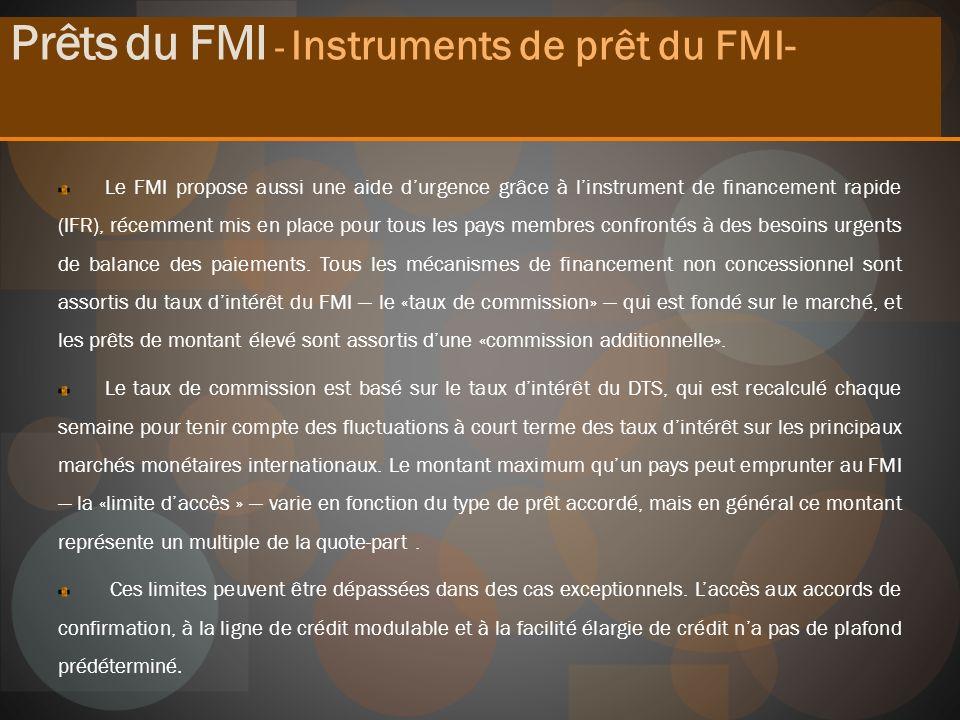 Prêts du FMI - Instruments de prêt du FMI-