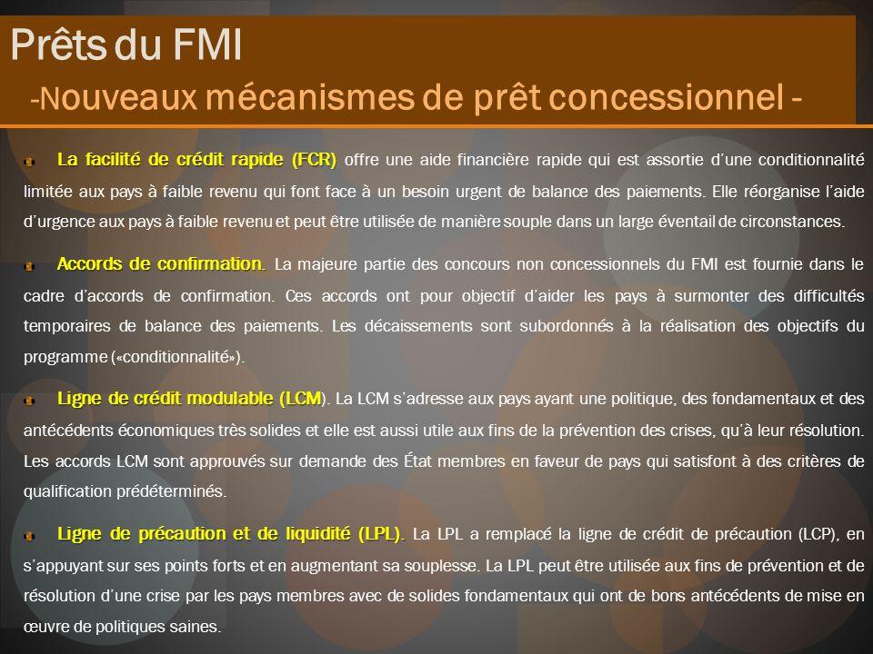 -Nouveaux mécanismes de prêt concessionnel -