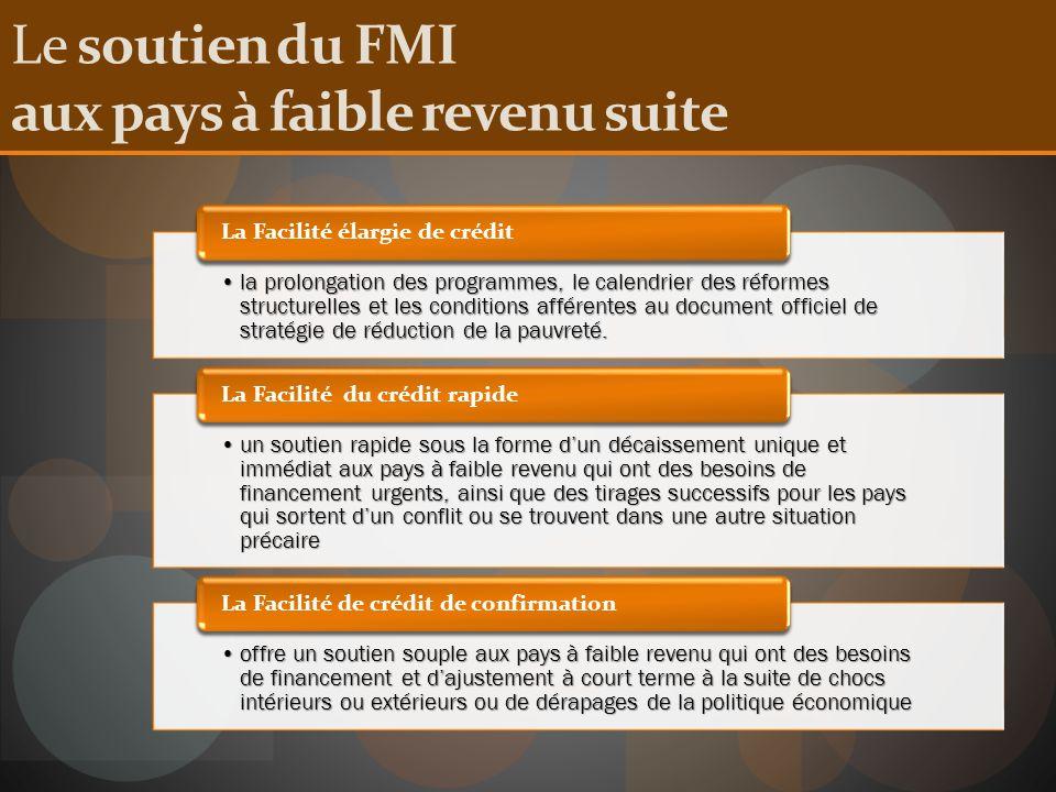 Le soutien du FMI aux pays à faible revenu suite