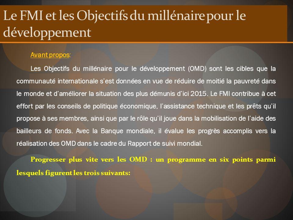 Le FMI et les Objectifs du millénaire pour le développement