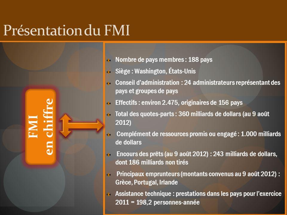 Présentation du FMI en chiffre FMI Nombre de pays membres : 188 pays