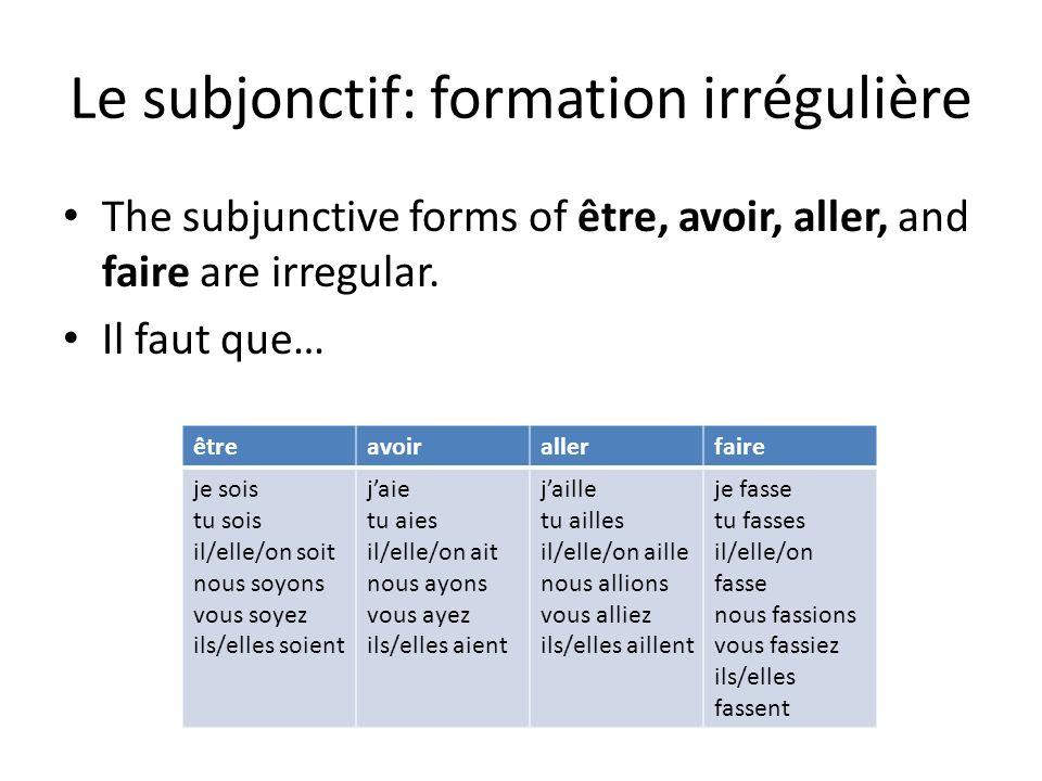Le subjonctif: formation irrégulière