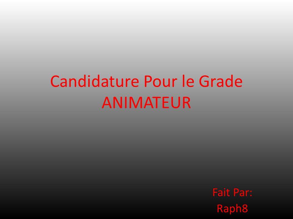 Candidature Pour le Grade ANIMATEUR
