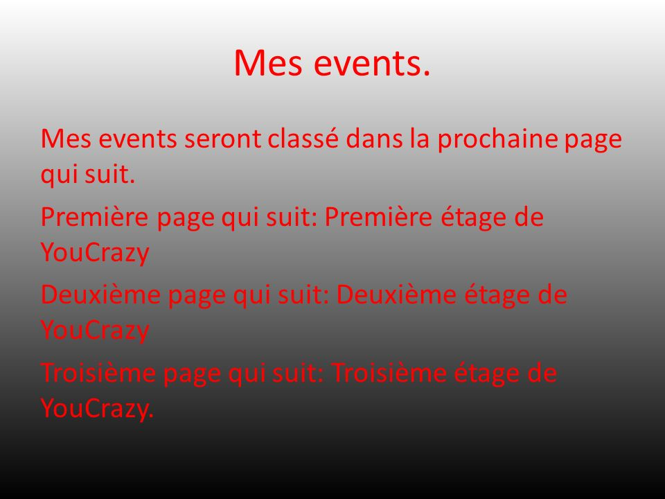 Mes events.