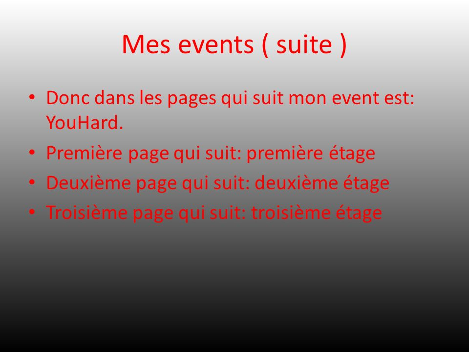 Mes events ( suite ) Donc dans les pages qui suit mon event est: YouHard. Première page qui suit: première étage.