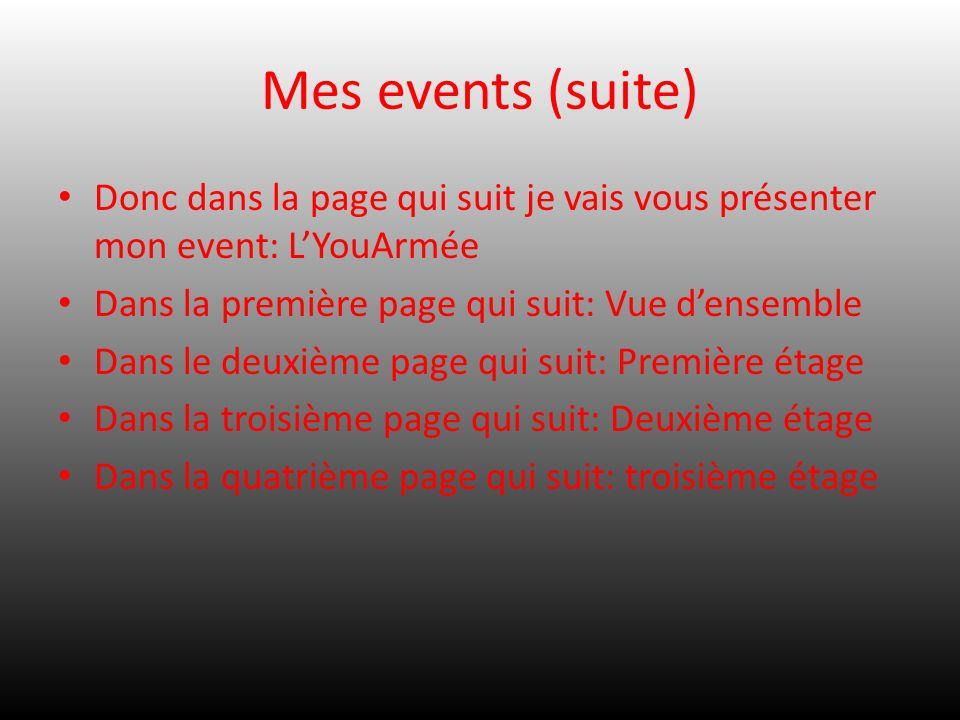 Mes events (suite) Donc dans la page qui suit je vais vous présenter mon event: L'YouArmée. Dans la première page qui suit: Vue d'ensemble.