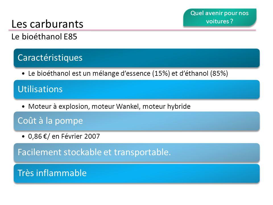 Les carburants Le bioéthanol E85