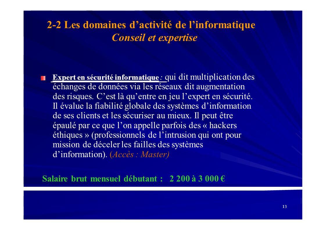 2-2 Les domaines d'activité de l'informatique Conseil et expertise