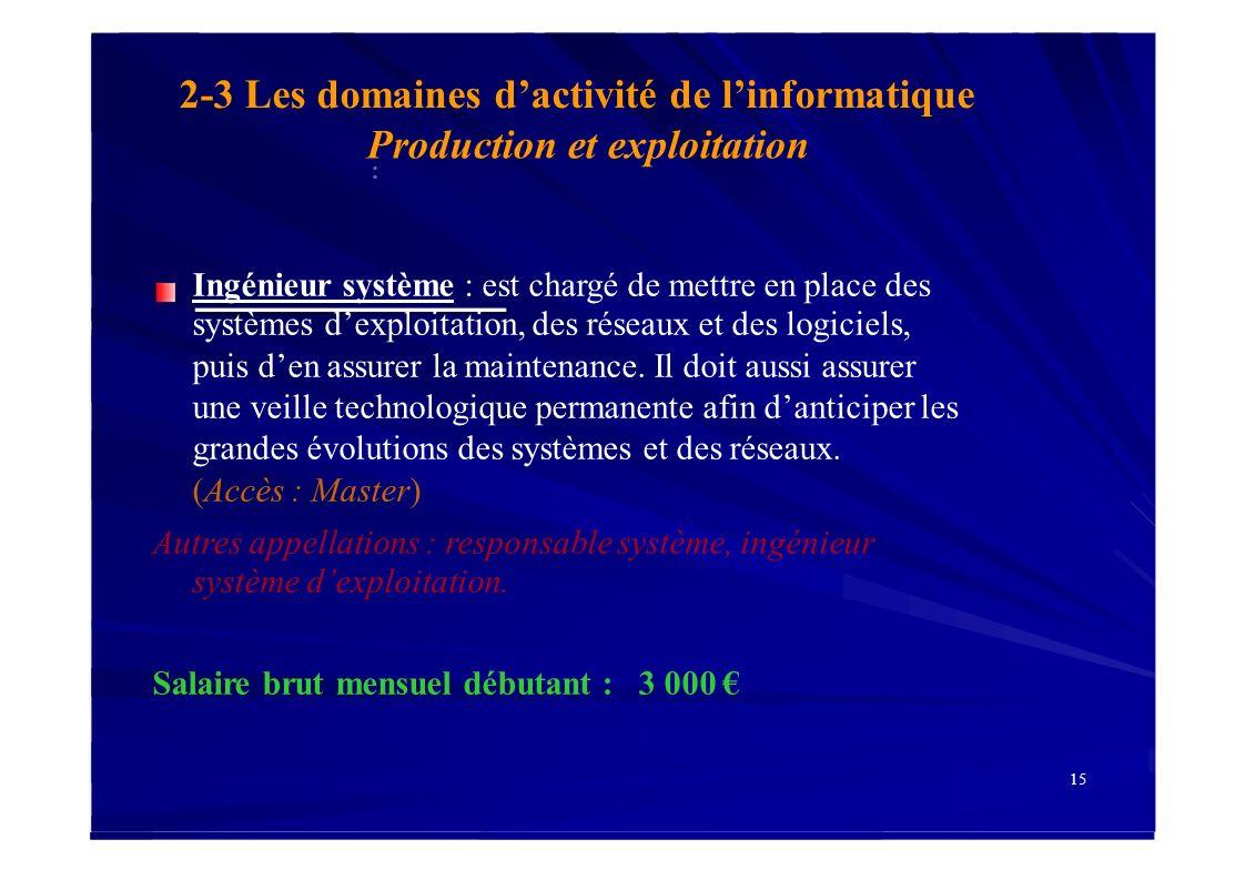 2-3 Les domaines d'activité de l'informatique