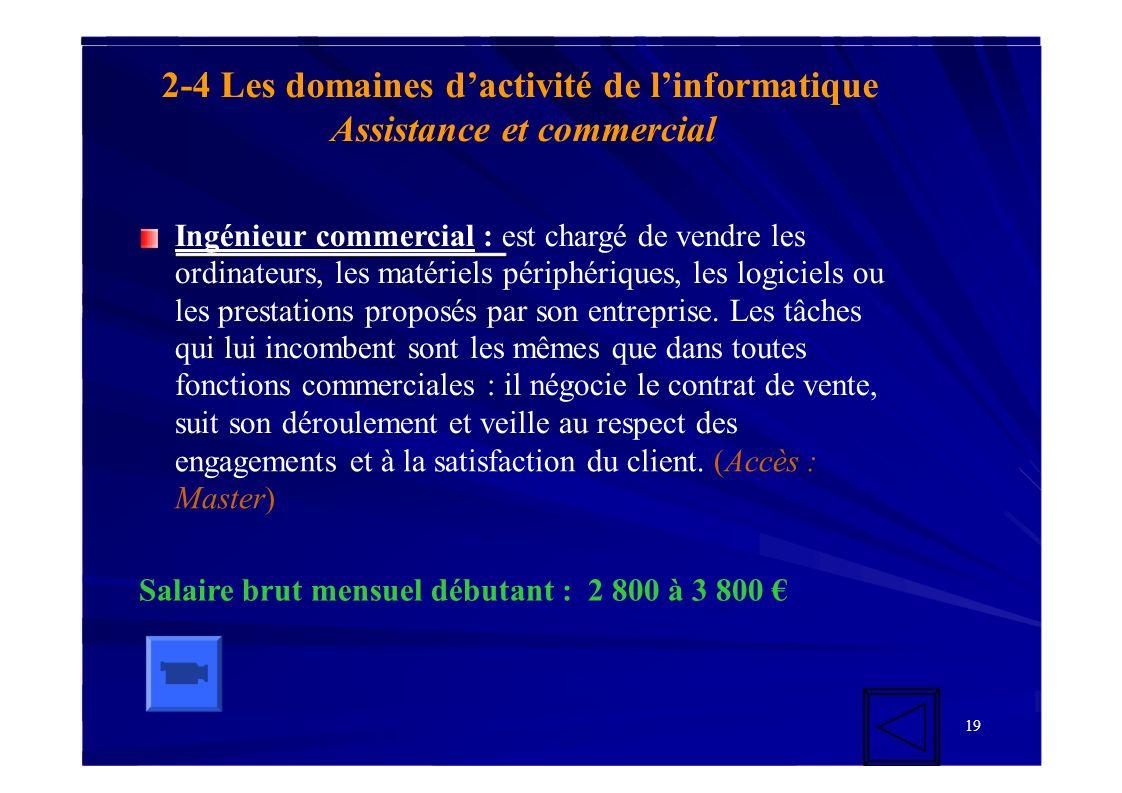 2-4 Les domaines d'activité de l'informatique Assistance et commercial