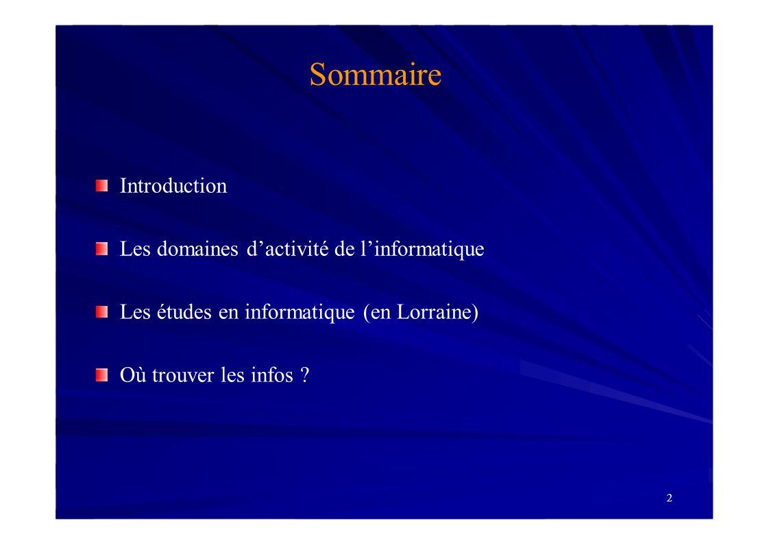 Sommaire Introduction Les domaines d'activité de l'informatique