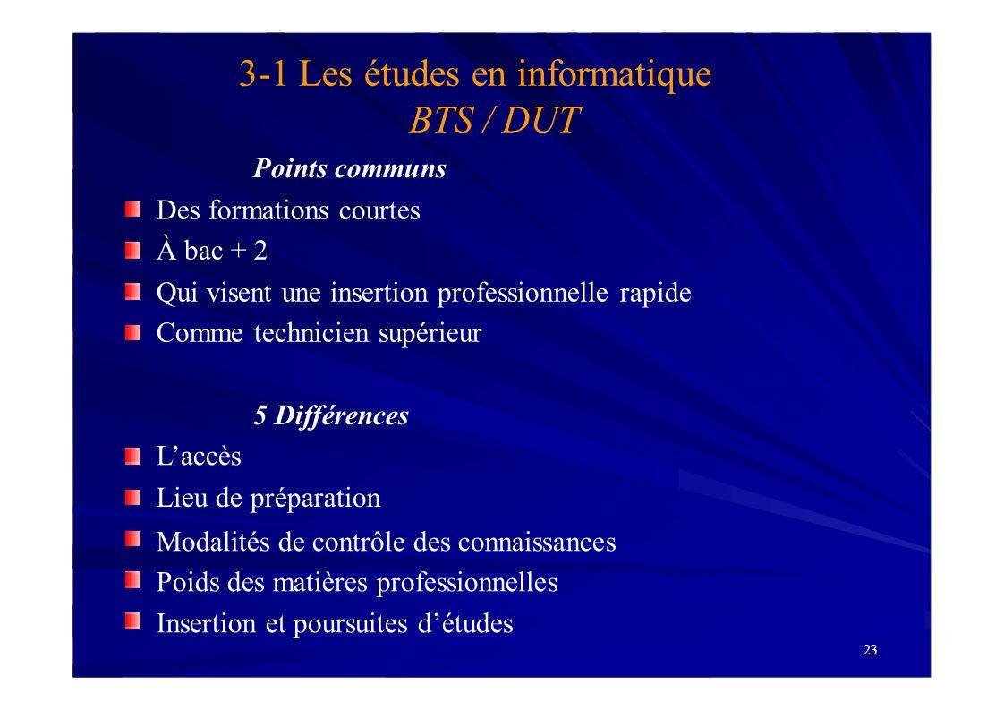 3-1 Les études en informatique BTS / DUT