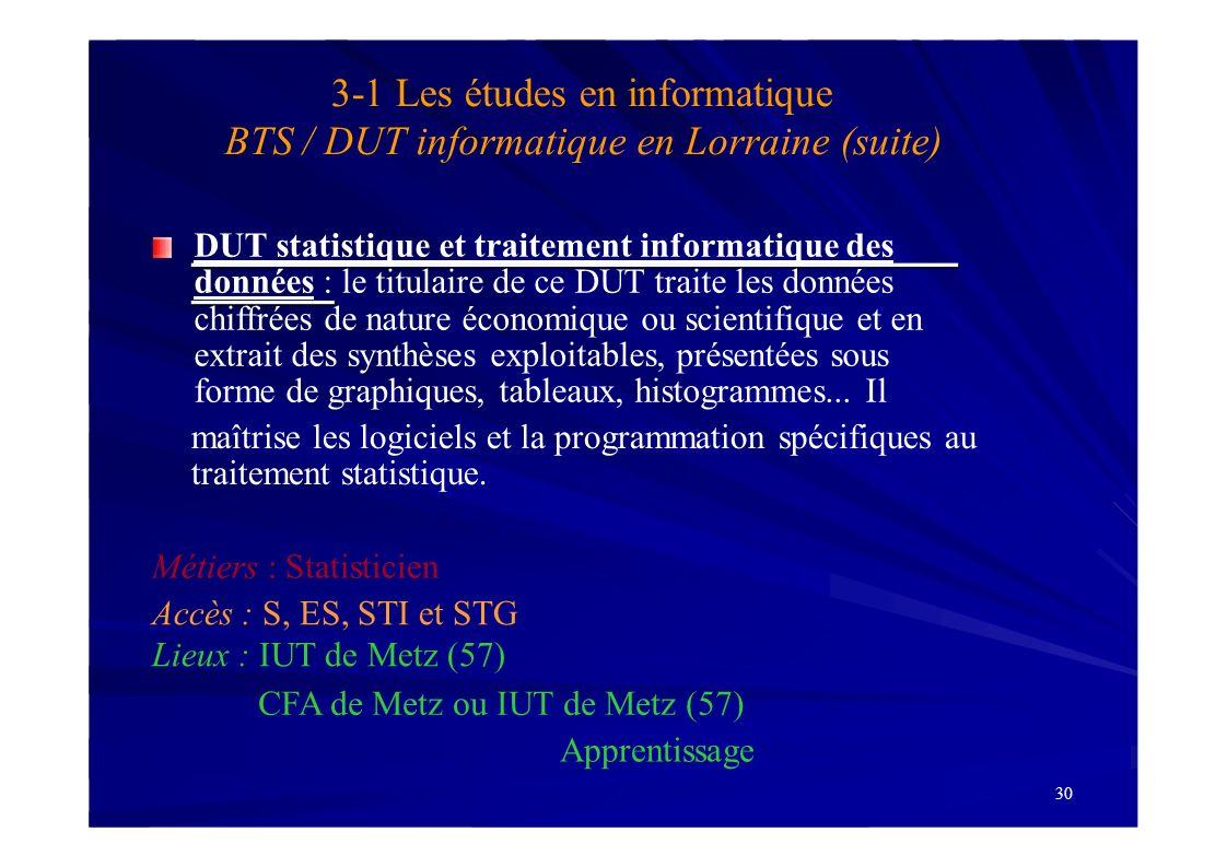 3-1 Les études en informatique